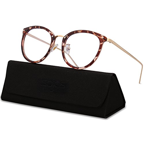 SojoS Round Women Eyeglasses Fashion Eyewear Optical Frame Clear Glasses SJ5969 (C1 Havana Brown Frame/Gold Temple, - Lenses Glasses Without Fashion