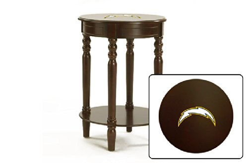 Round Table Top Cappuccino / Espresso Finish Night Stand End Table Featuring Your Favorite Football Team Logo (Chargers)