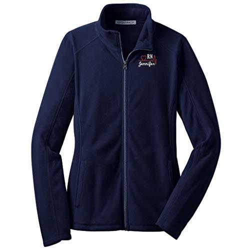Lane Weston Personalized RN Nurse Full Zip Microfleece Jacket with Pockets (Medium, True Navy)