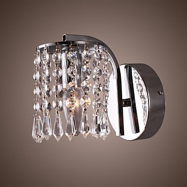 60W Vibrant Modern Wall Bracket Light with Crystal Pendants in Polished Chrome , (Crystal Wall Bracket)