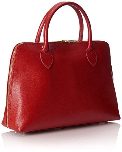 Bolsa CTM mujeres del bolso de mano golpe de impresión inspider, 38x28x10cm, cuero genuino 100% Made in Italy Rojo (Rosso)