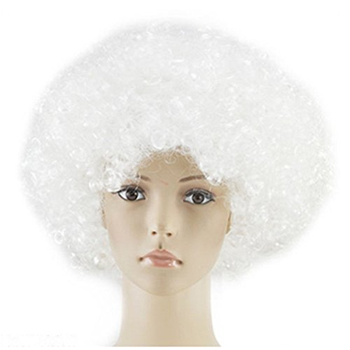 Afro Wig Adult Cosplay Dance Party for Women's Short Wig Afro Wig 70's White]()
