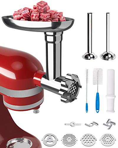 X Home Metal Grinder Attachment with Stuffing Tubes for KitchenAid Mixer, Great for Making Sausages and Burgers, Durable and Easy to Assemble