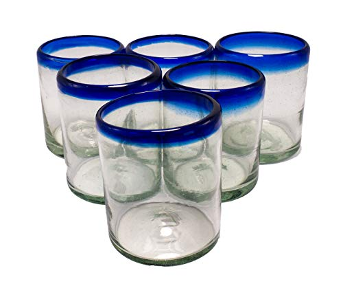 EMPORION Set of 6 Hand-Blown Tumbler (10 oz) Glasses from Mexico with Cobalt Blue Rim – Rustic & Handcrafted Recycled…