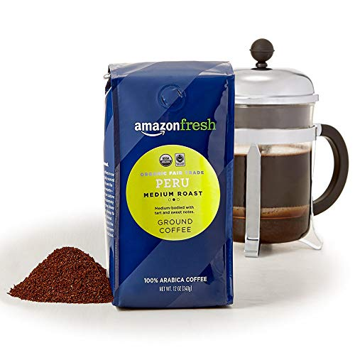 AmazonFresh Organic Fair Trade Peru Ground Coffee, Medium Roast, 12 Ounce (Pack of 3)