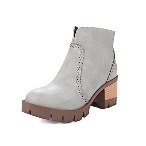 Material Solid Closed Zipper Gray Soft Toe Kitten Allhqfashion Metal Round Women's Boots Heels with 86qWwtB