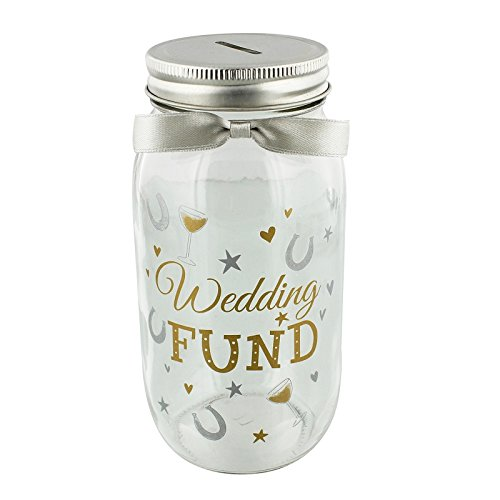 Pennies & Dreams Glass Wedding Fund Money Box Jar - Shoe Fund Money Box