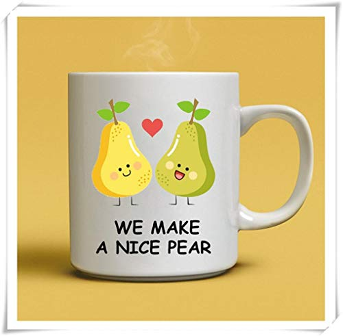 Mr.Fixed - Pear Mug, We Make A Nice Pear, Anniversary Gift, Gift For Girlfriend, Engagement Gifts, Fruit Lover Gift, Pear Lover Gifts, 11oz Ceramic Coffee Mug, Unique Gift