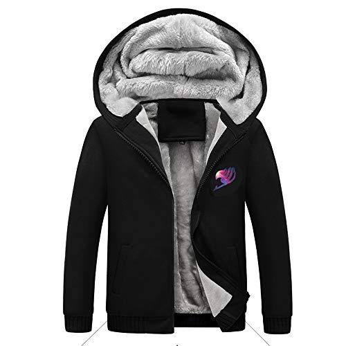 - KINOMOTO Costumes Hoodie Winter Zipper Coat Thicken Fleece (L, Black)