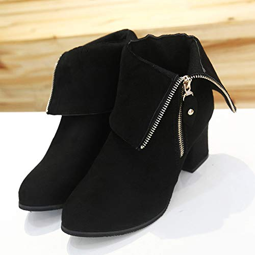 Thick Ankle Middle Womens Pointed Heels Black Heel Boots High Boots Boots Shoes Boots wEwRIY