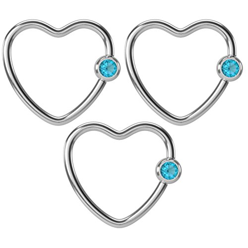 16g Heart Hoop Earring CBR Captive Bead Rings Cartilage Daith Rook Helix Auricle Crystal Ring Tragus Conch Eyebrow Snake Bites Surgical 8mm Loop Blue Zircon Swarovski Crystal x 3 by BLING UNIQUE (Butterfly Rainbow White Snap)