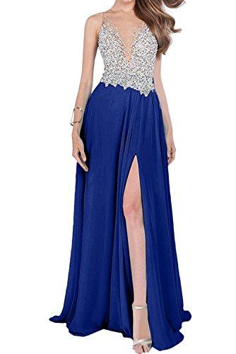 Abendkleider Jugendweihe Partykleider mit Beige mia Royal La Braut Luxurioes Steine Blau Schlitze Kleider Damen vqza8YFwXf