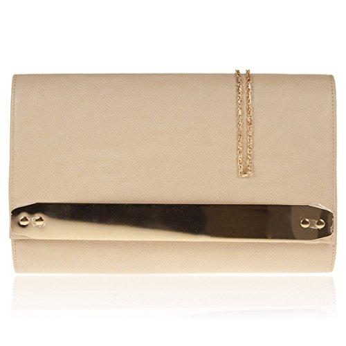 Xardi London New in similpelle donne pochette da sposa designer donne Evening party Handbags Beige