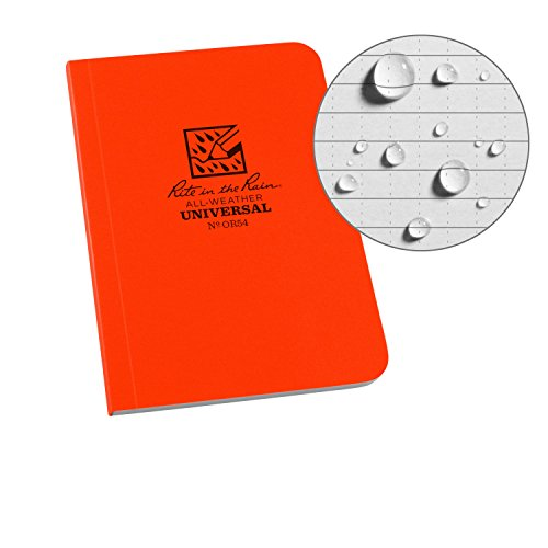 Rite in the Rain Weatherproof Soft Cover Pocket Notebook, 3 1/2 x 5, Orange Cover, Universal Pattern (No. OR54)