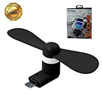 White Compact Silent USB Fan 1.5W Portable Fan for Hot Weather Latkey 2-in-1 Micro USB USB Fan Compatible with iPhone//Samsung//Android iCool Portable Mobile Phone Fan with Fine Motor