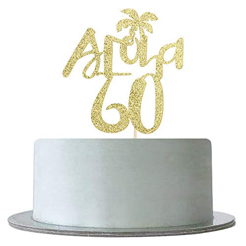 Gold Glitter Aloha 60 Cake Topper for 60th