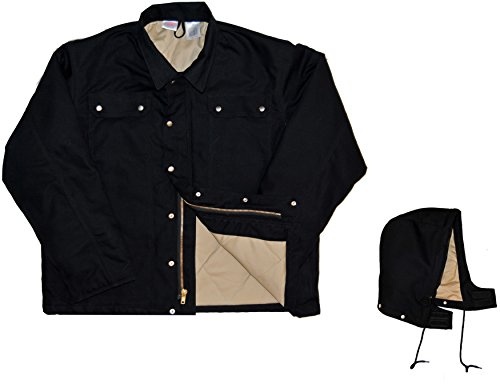 Rasco FR Heavy Black Coat with Hood BLHC2426 Flame Resistant Jacket, Black, Medium ()