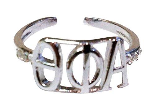 (Theta Phi Alpha Sorority Silver Adjustable Ring)