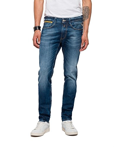 Replay Men's Anbass Coin Zip Slim Jeans (W34/L32 (Size:34)) ()