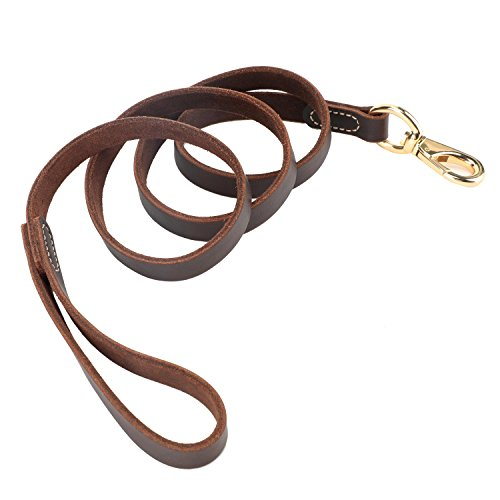 LNASI Leather dog leash 5FT & 3/4'' leash for medium, large dog training and walking (3/4''x3.6ft, brown) by LNASI