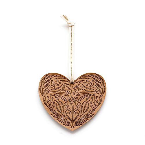 Floral Heart Laser Cut Wood Ornament (Christmas/Holiday/Love/Anniversary/Newlyweds/Keepsake)