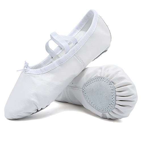 Classic Ballet Flats (CIOR Premium Leather Ballet Shoes for Girls Classic Dance Gymnastics Yoga Slippers Flats(Toddler/Little Kid/Big Kid),VTW02,White,25)