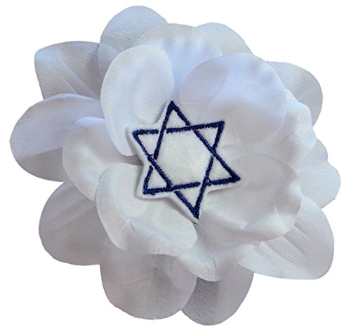 (Hanukkah Blue Star of David Rose Silk and Organza Flower Hair Clip By Funny Girl Designs (White Flower White Star))