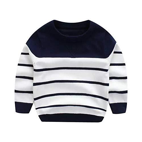 - Baby Boy Girl Autumn Winter Long Sleeve Pullover Knit Sweater Kids Spring Cotton Crew Neck Stripe Sweatshirt Tops