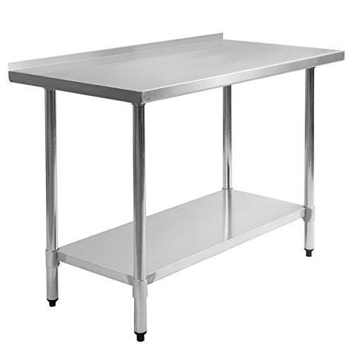 24'' x 48'' Stainless Steel Kitchen Work Prep Table with Backsplash Commercial Restaurant Bar Heavy Duty by AscendPro