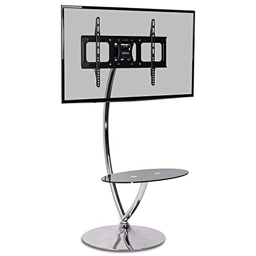 Duronic TVS3F1 Floor TV Stand - Contemporary Designer Glass Shelf 30