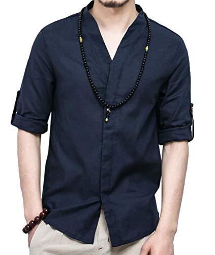 pipigo Men Vintage Stand Collar Linen Chinese Style Summer Dress Shirt 1 S