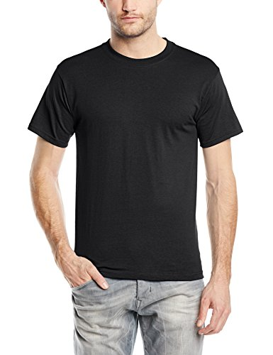 Fruit of the Loom Heavy Cotton Tee Shirt, Camiseta Manga Corta para Hombre Nero
