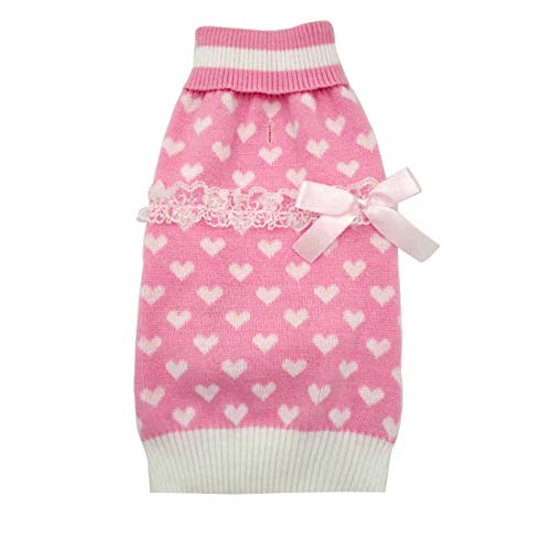 kyeese Dog Sweaters for Small Dogs with Leash Hole Turtleneck Pink Dog Sweater with Bowtie Knit Pullover Dog Clothes