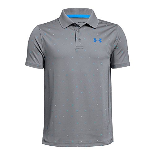 (Under Armour Boys' Performance Novelty Polo, Steel (035)/Blue Circuit, Youth X-Large)