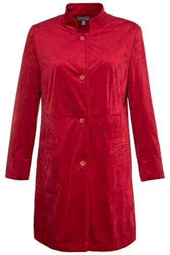 - Ulla Popken Women's Plus Size Faux Suede Seamed Jacket Red 12/14 714582 51