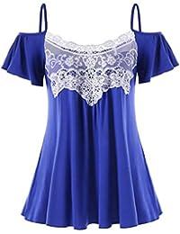 Woman Women Casual Summer Lace Off Shoulder T-Shirt Short Sleeve Tops Blouse