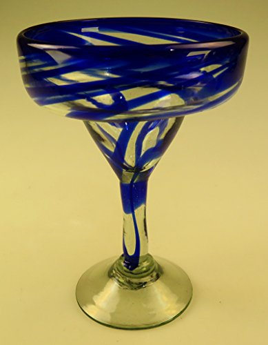 Mexican Glass Margarita Blue Swirl set of 6 by Mexican Margarita Glasses (Image #4)