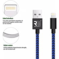ION iOS/Lightning Charging Cable (Blue/Black), 3.3FT Nylon Braided 8 Pin certify lightning to USB charging Cable Cord powerline for iPhone X 8 8 Plus 7 7 Plus 6 6S 6 Plus 5S SE iPod iPad Mini Air Pro
