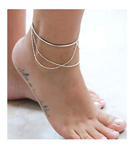 Mevecco 3 Layered Anklet,Steling Silver 14K Silver Filled Boho Cuff Wire Cute Tiny Beaded Satellite Charm Beach Handmade Dainty Foot Chain Bangle Ankle Bracelet for Women (Wire Cuff)