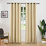 ALLBRIGHT Thermal Insulated Blackout Curtains Grommet Top Window Treatment for Bedroom/Living Room (2 Panels, 52 x 84 Inch, Warm Beige/Buff)