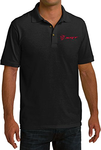 Dodge Demon SRT Logo Pocket Print Pique Polo Shirt, Black, XL