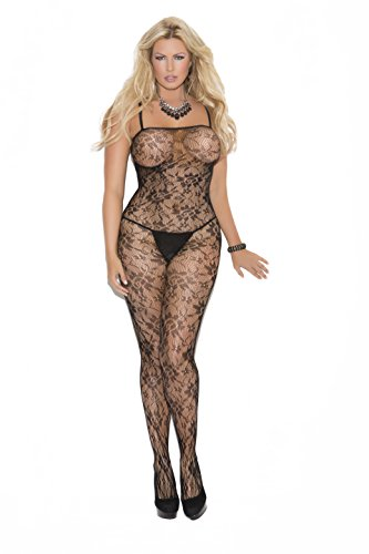 Rose Lace Bodystocking - Zabeanco Sexy Rose Lace Bodystocking With Spaghetti Straps and An Open Crotch (Black, Plus Size)