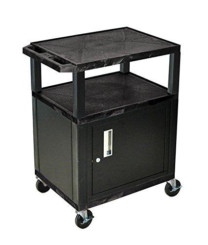 H WILSON WT34C2E 3-Shelf AV Cart with Cabinet, Tuffy, Black by H Wilson