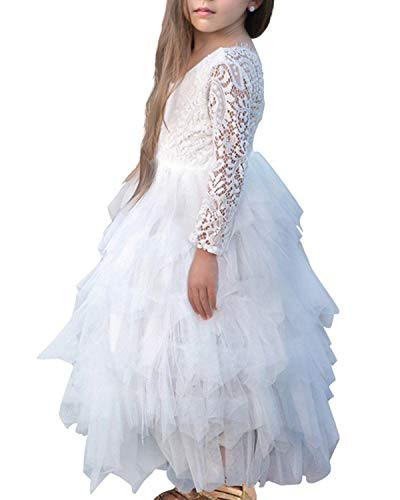 NNJXD Girl Lace Back Tutu Tulle Flower Girls Princess Party Dress Size (130) 7-8 Years White