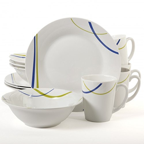 Supreme Quality Gibson Home Divine Streams 12 Piece Dinnerware Set, White, Dishwasher and Microwave Safe; Oven Safe