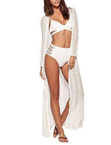 Colorido Casa Mujeres Playa Cubre Bañador Largo Bikini Encaje Vestido Kimono chaqueta de punto, Lace-white, Talla única