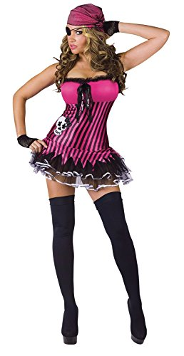GTH Women's Fancy Halloween Rockin' Skull Pirate Sexy Theme Party Costume, M/L (10-14)
