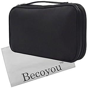 Makeup Organizer Bag, Becoyou Professional Makeup Brush Organizer with Belt Strap Holder Multifunctional Zipper Cosmetic Makeup Bag Handbag for Travel & Home, Black