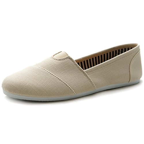 Ollio Women's Shoe Slip on Sneaker Canvas Flat ML031(8 B(M) US, (Canvas Slip Ons Womens Shoes)