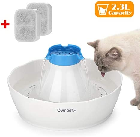 OWNPETS Pet Drinking Fountain,2.3L or 0.6 Gallon Quiet Automatic Eletrinic Water Fountain for Cat and Dog